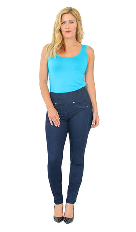 TrueSlim™ Indigo Rayon Pull On Jeggings