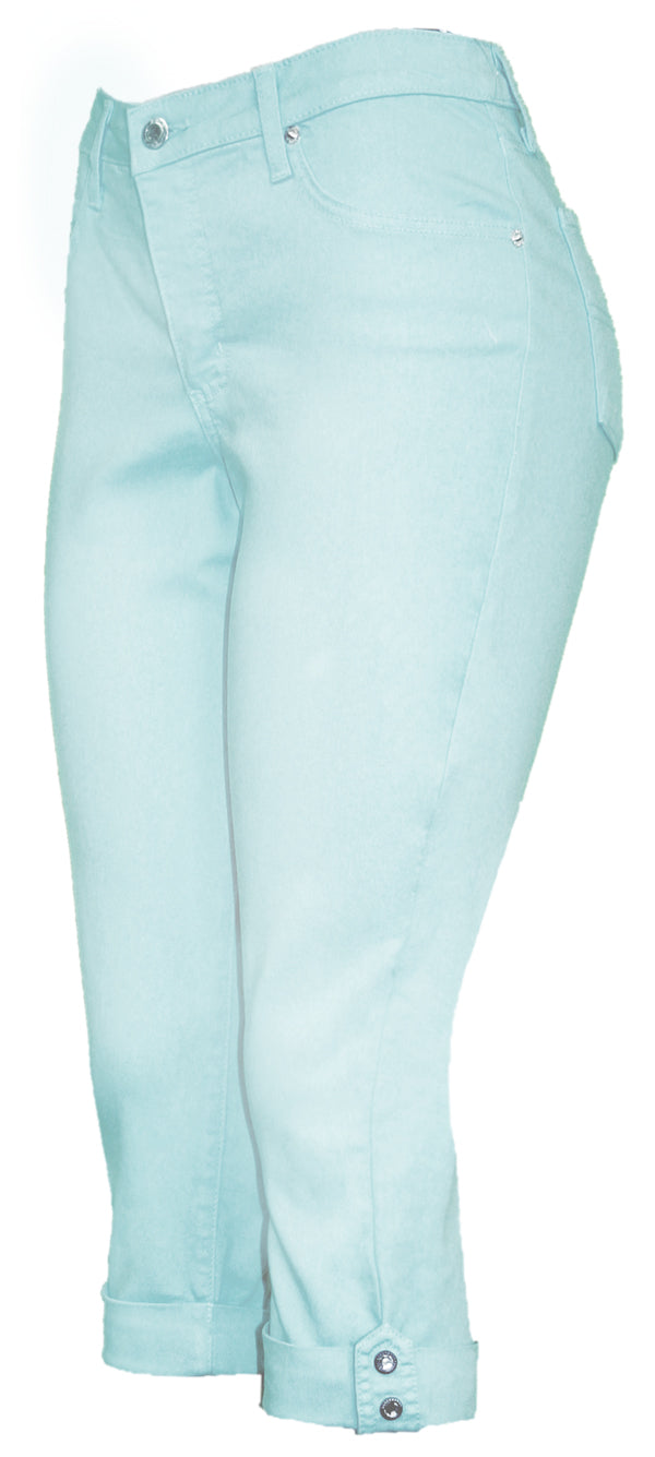 TrueSlim™ Sky Blue Capri with Stone Trim
