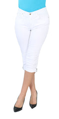 TrueSlim™ White Capri with Stone Trim