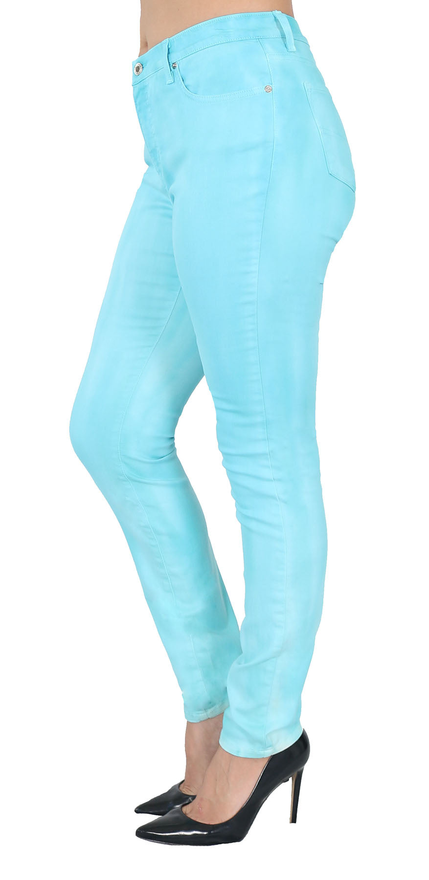 TrueSlim™ Textured Dyed Aqua Jeggings