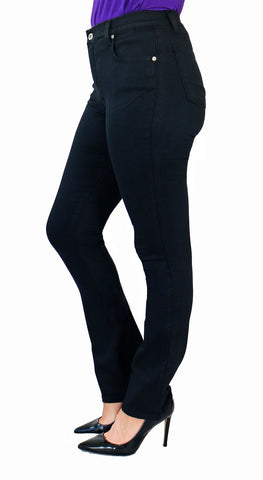 TrueSlim Black Bootcut Jeggings with button closure - side view