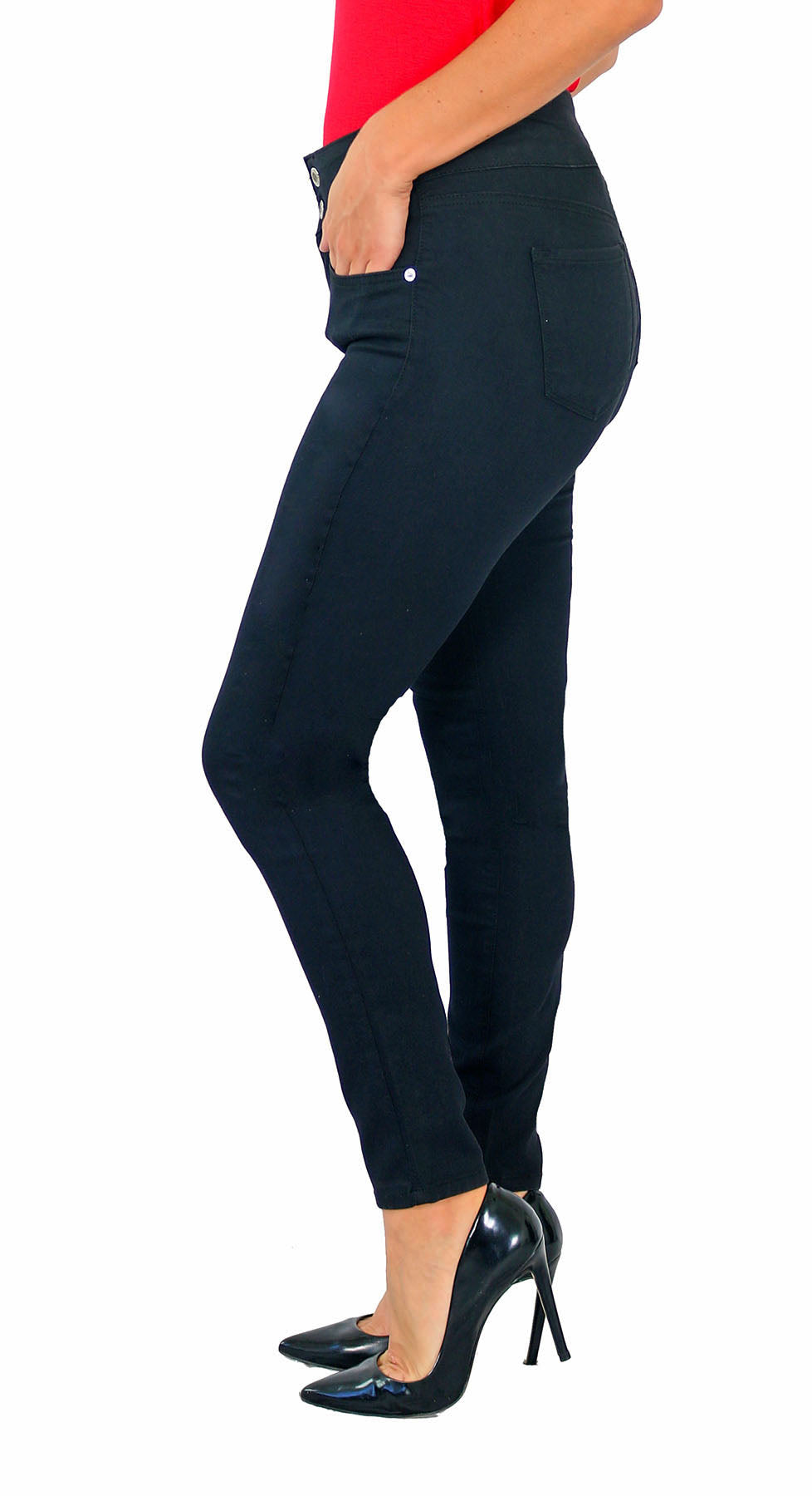 TrueSlim™ Black Two Button Jeggings