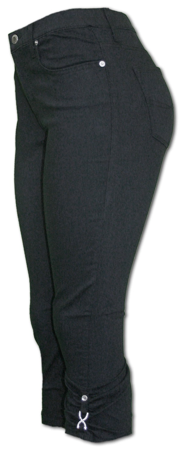 TrueSlim Capri with Rhinestone Detail in Black