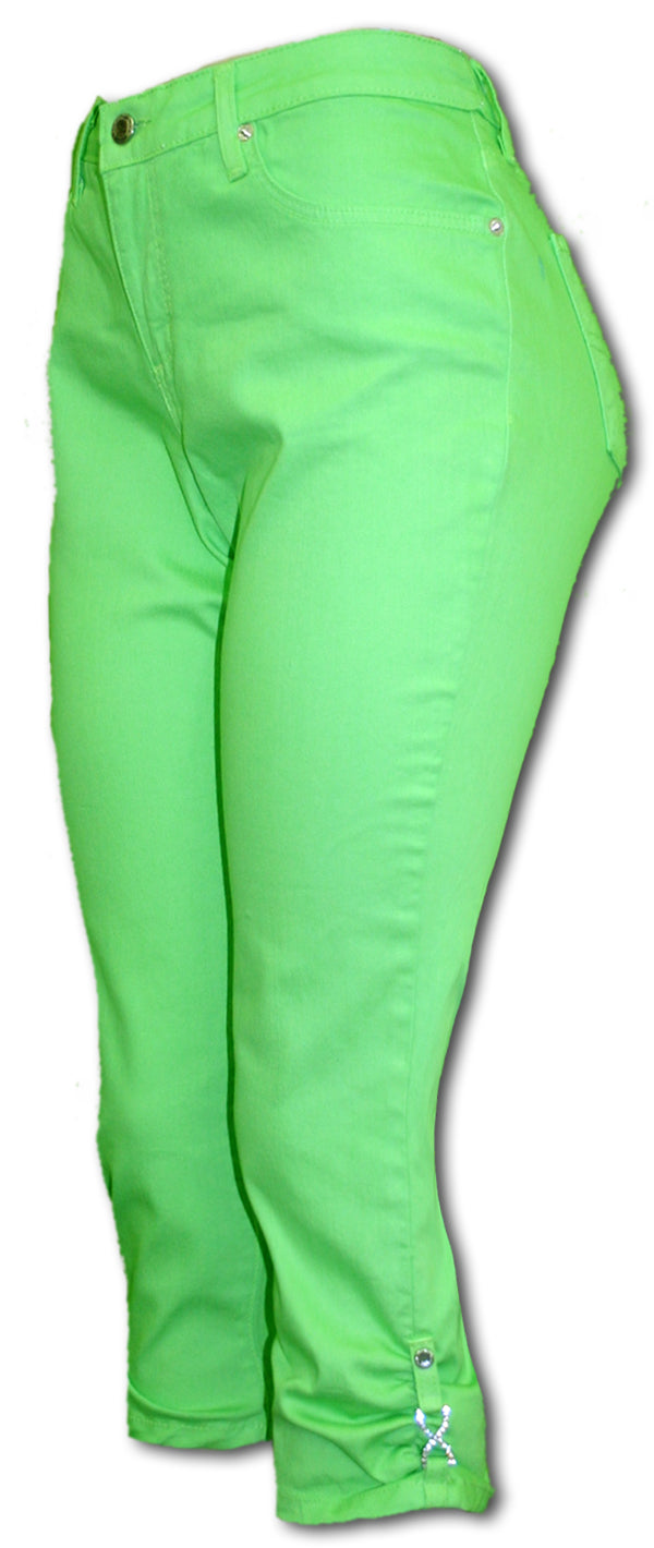 TrueSlim Capri with Rhinestone Detail in Citrus