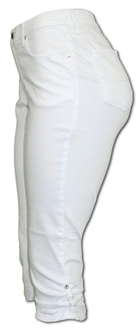 TrueSlim White Capri with Rhinestone Detail