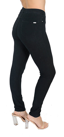 Pull on black leggings for women with back pockets