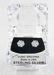 Sterling Silver Round Cut Cubic Zirconia Earrings with Crystal Box 3 carat (7 1/2 MM)
