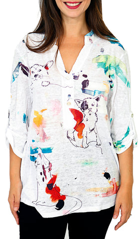 Impulse California Women's Mandarin Collar Print Top