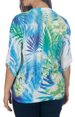 Impulse California Women's Mandarin Collar Print Top - Petite