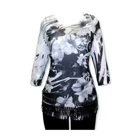 Impulse California Women's Black Floral Mesh Tunic