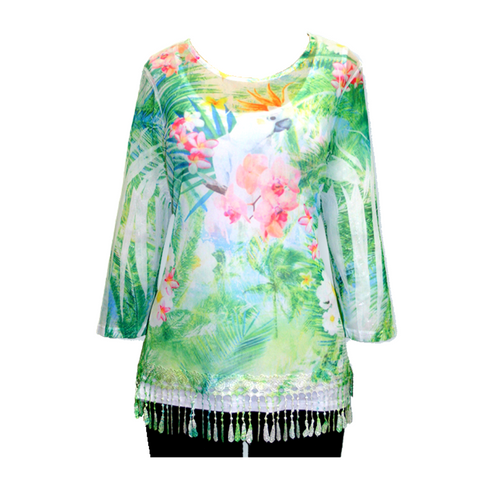Impulse California Women's Tropical Cockatoo Mesh Tunic
