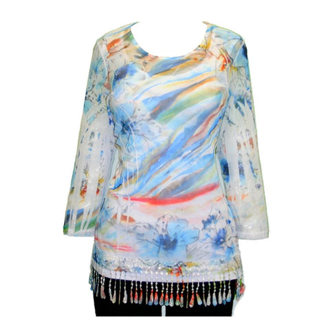 Impulse California Women's Floral Sky Mesh Tunic