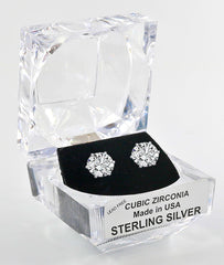 Sterling Silver Round Cut Cubic Zirconia Earrings with Crystal Box 4 carat (8 MM)