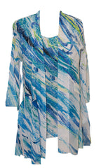 Impulse California Women's 2-piece printed cardigan set. Cardigan features sequined sleeve cuffs and pocket flaps. Unattached tank top is included. Both are imprinted with a unique watercolor design that is easily dressed up or down.