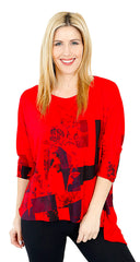 Impulse California Women's Red Printed Tunic