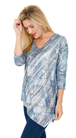 Impulse California Women's Asymmetrical Blue Waves Sweater