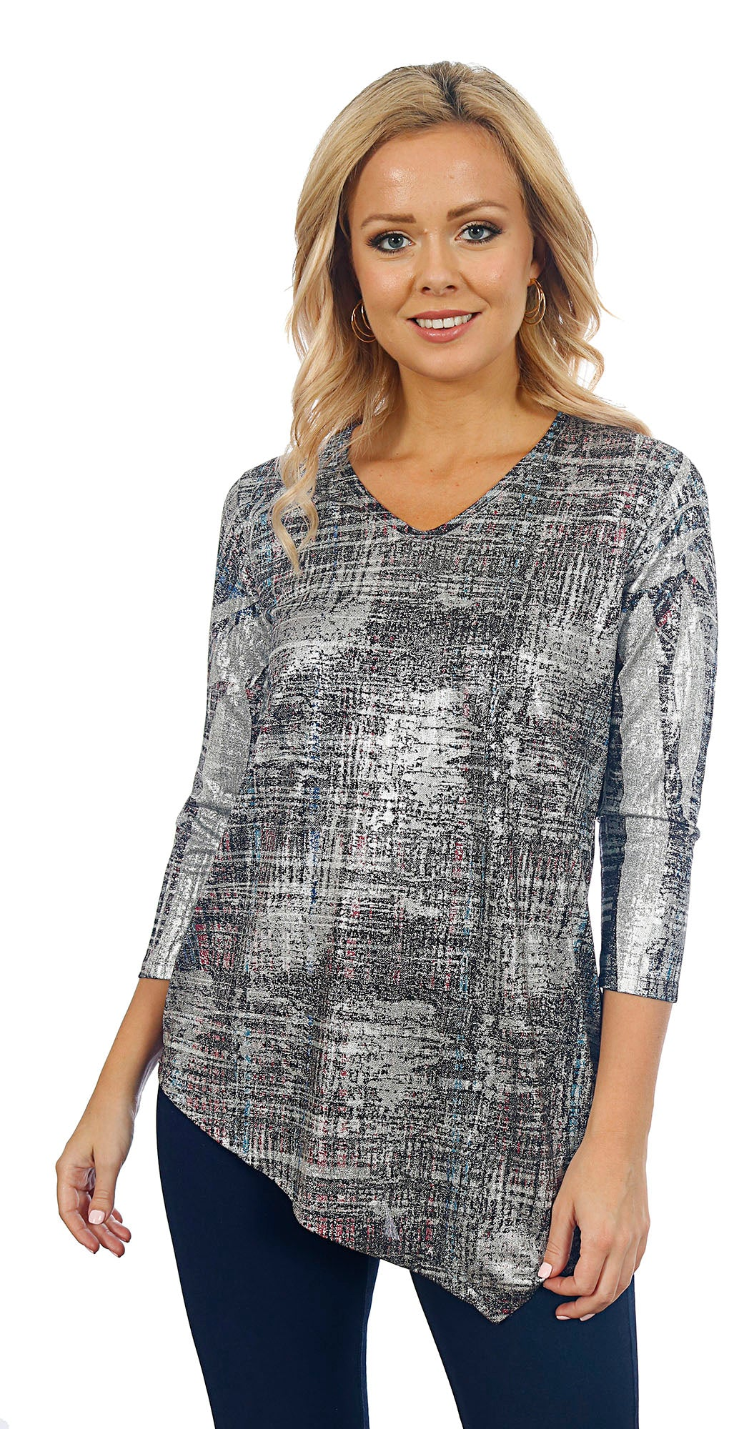 Impulse California Women's Asymmetrical Silver Foil Sweater