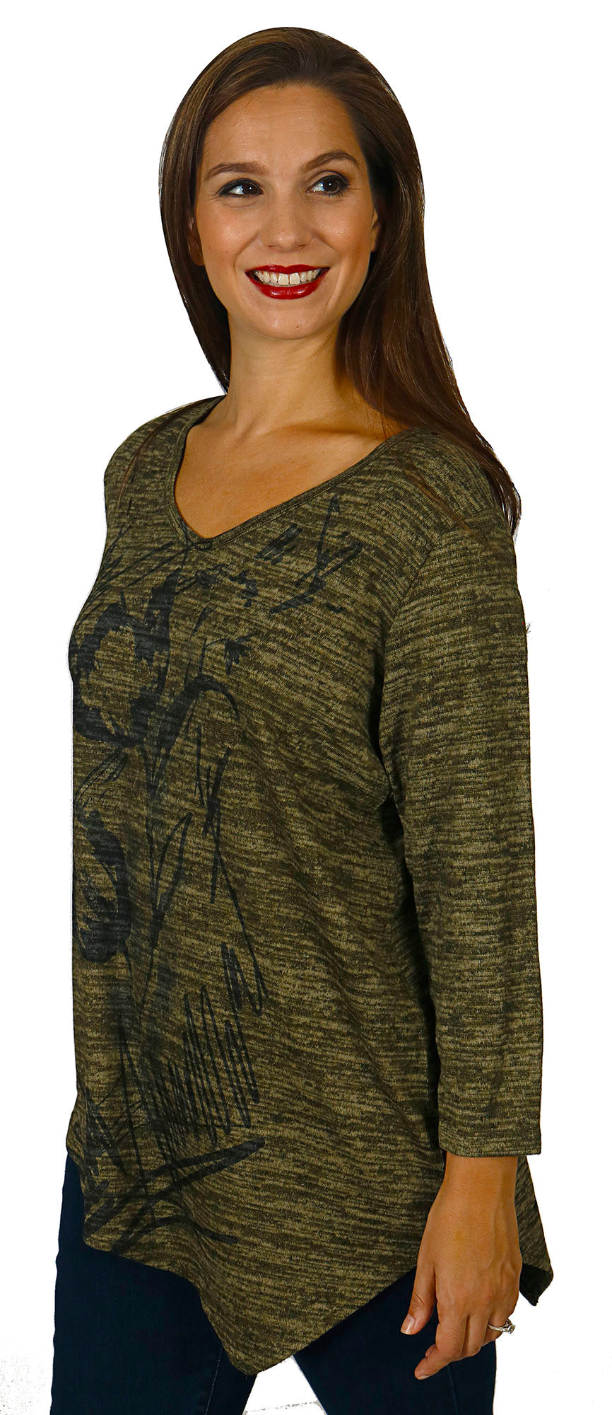 Impulse California Women's Tulips Asymmetrical Sweater