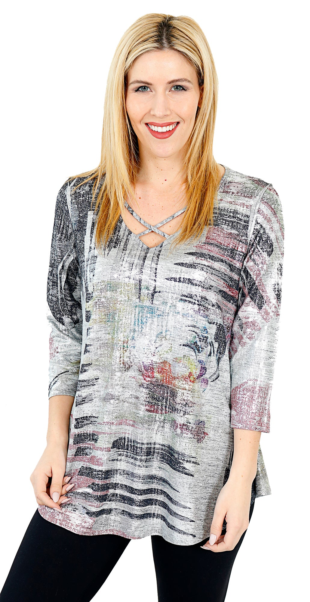 Impulse California Women's Crisscross Silver Foil Sweater