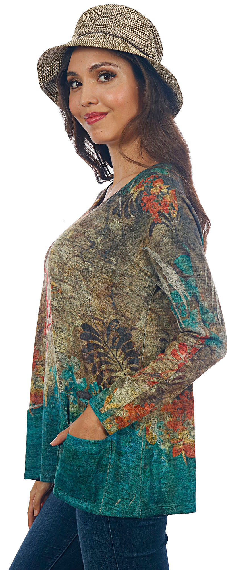Impulse California Women's Fall Floral Patch Pocket Sweater