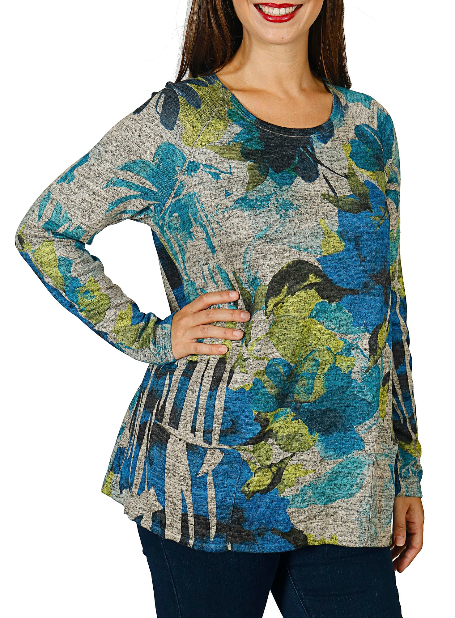 Impulse California Women's Floral Patch Pocket Sweater