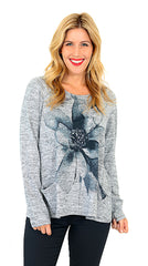 Impulse California Women's Blue Flower Patch Pocket Sweater