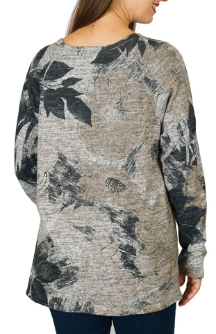 Impulse California Women's Black Floral Patch Pocket Sweater