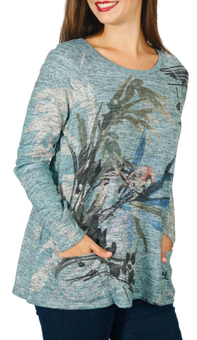 Impulse California Women's Bird Watercolor Patch Pocket Sweater