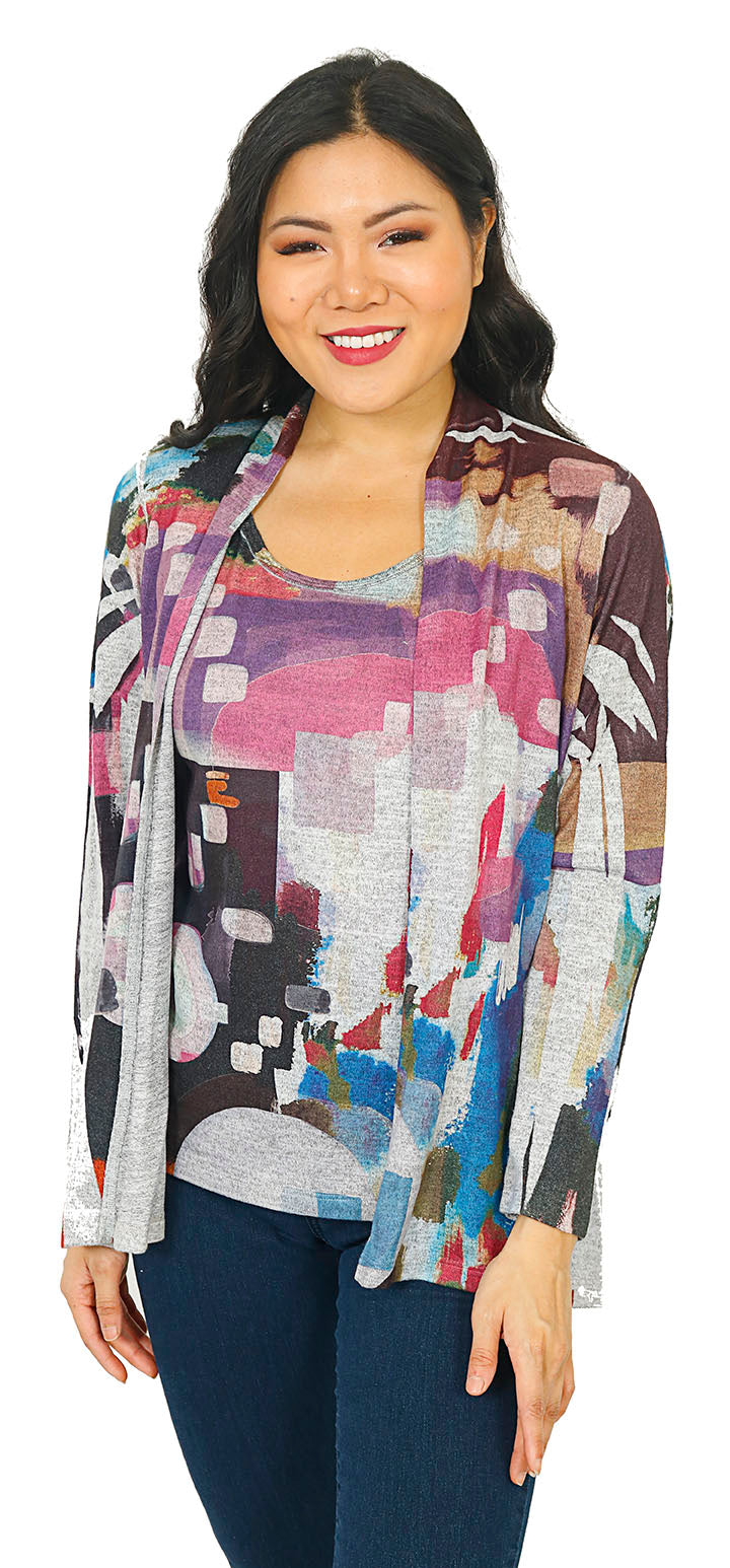 Impulse California Women's 2-piece Sweater Cardigan and Matching Tank Top
