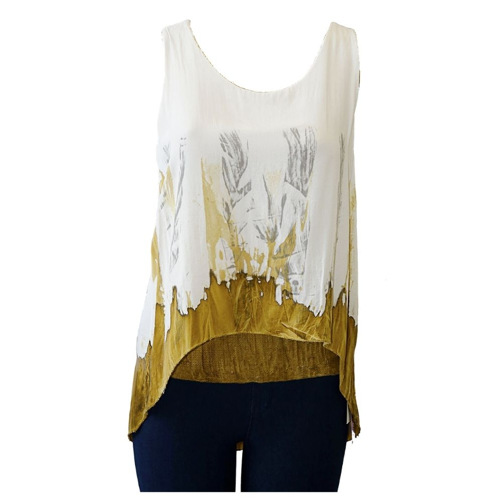 Impulse California Women's Sleeveless Gold Dyed Tunic