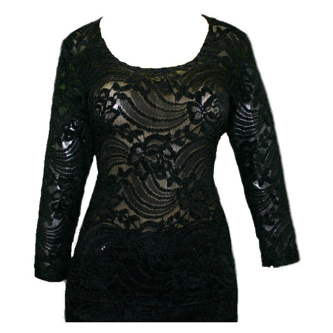Impulse California Women's Black Sheer Floral Lace Blouse