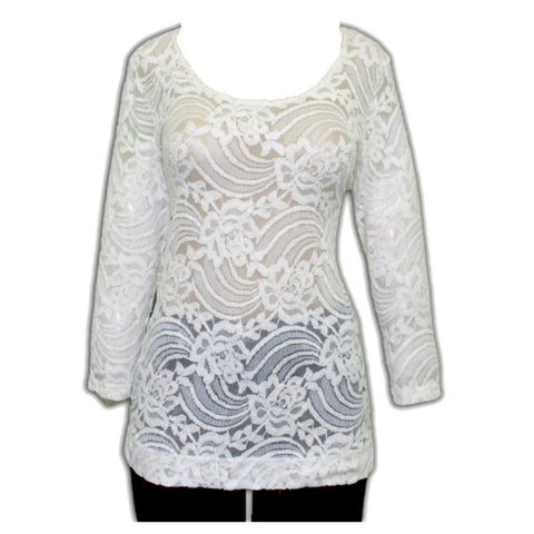 Impulse California Women's Ivory Sheer Floral Lace Blouse