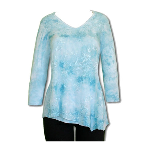 Impulse California Women's Sky Blue Embroidered Tunic