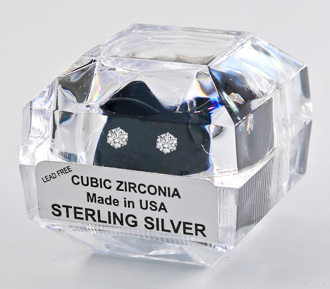 Sterling Silver Round Cut Cubic Zirconia Earrings with Crystal Box 1 carat (4 1/2 MM)
