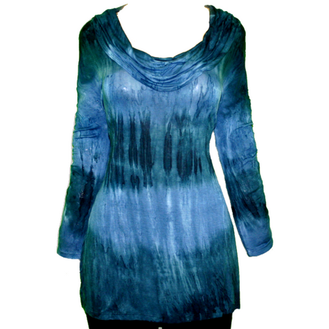 Impulse California Women's Blue Tie Dye Cowl Neck Tunic