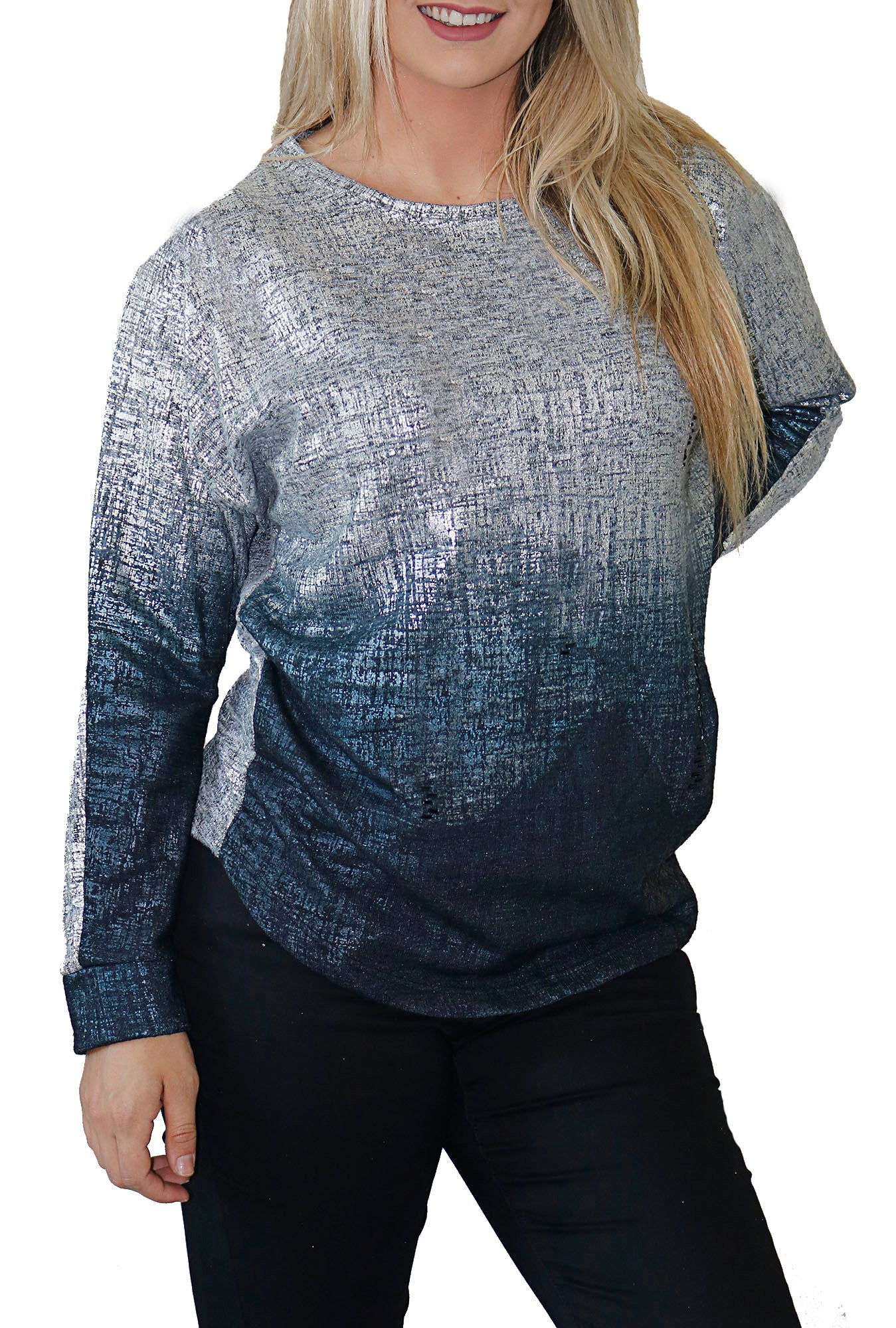 Impulse California Women's Silver Beaded Sweater