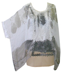 Impulse California Women's Batwing Chiffon Blouse with Lace Detail