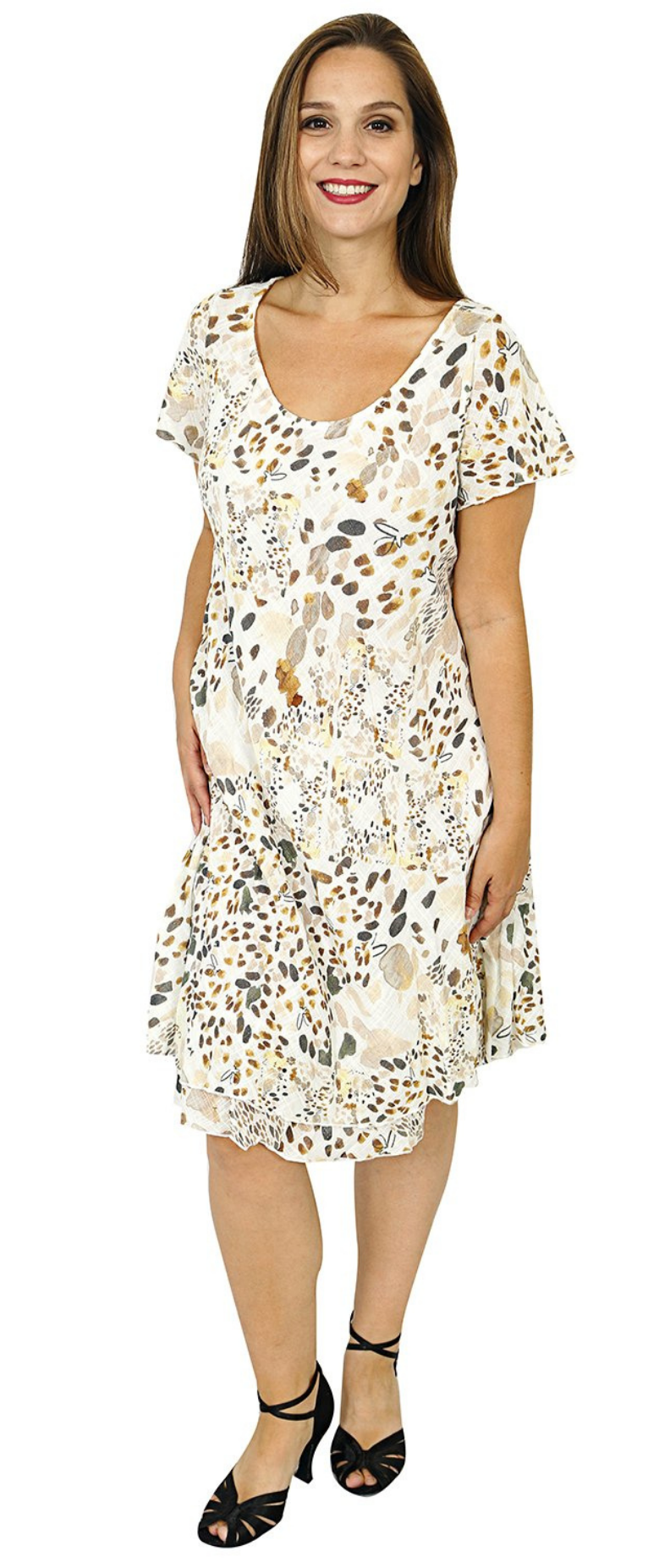 Impulse California Women's Spotted Cap Sleeve Printed Dress