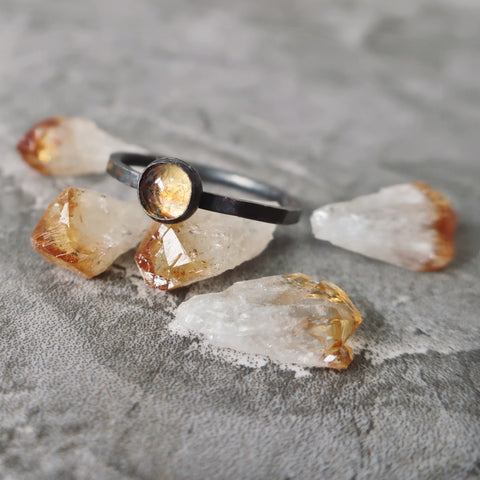 Citrine Crystal Satellite Ring