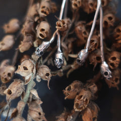 Snapdragon seed pods, screaming skulls in sterling silver necklaces and earring