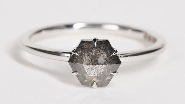 Hexagon salt and pepper diamond engagement ring with fine silver band