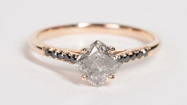 Salt and pepper diamond engagement ring in rose gold