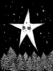 The Star Tarot card illustration hand drawn star above tree tops