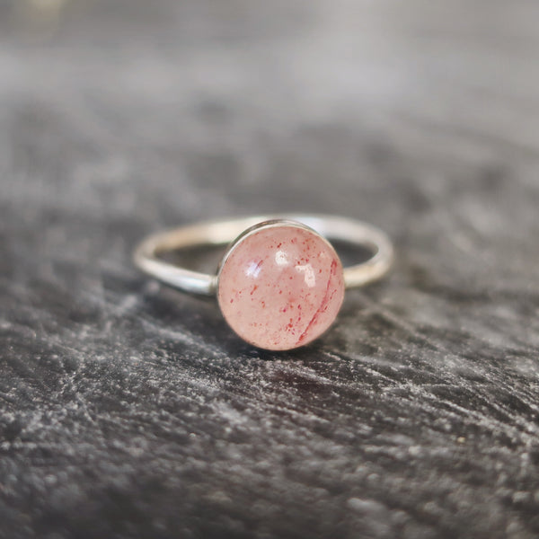 Round Strawberry Pink Quartz Sterling Silver Ring