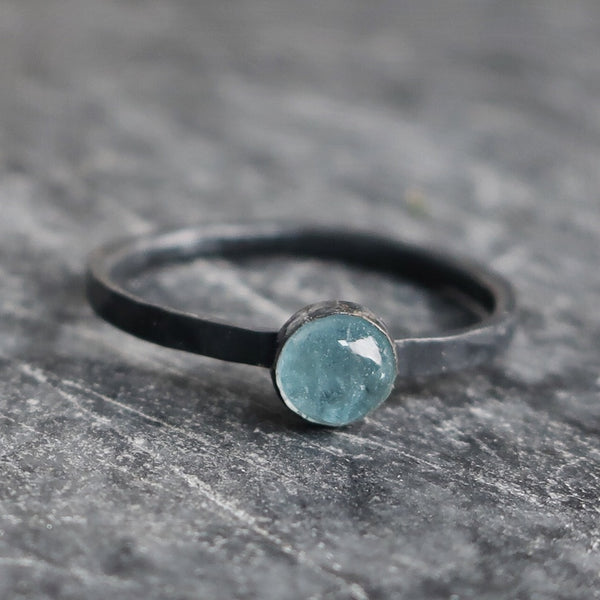 Black metal aquamarine birthstone crystal ring by Bonearrow