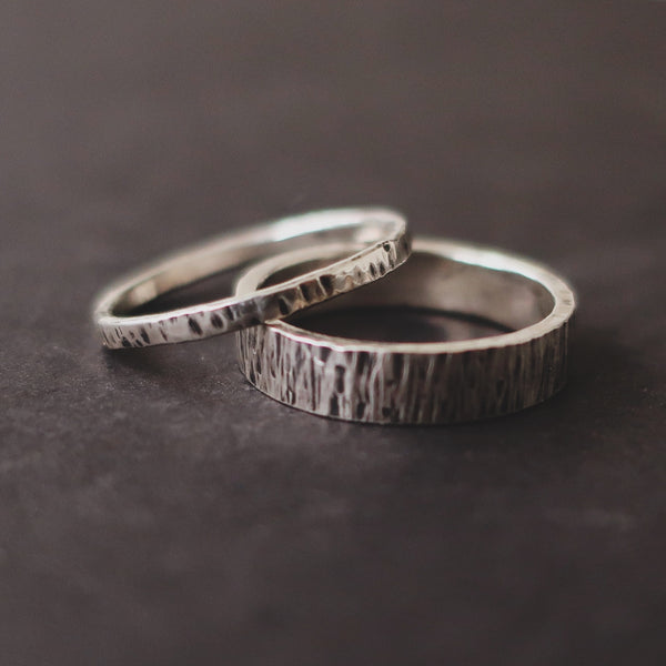 Fine Hammered sterling silver stacking rings by Bonearrow
