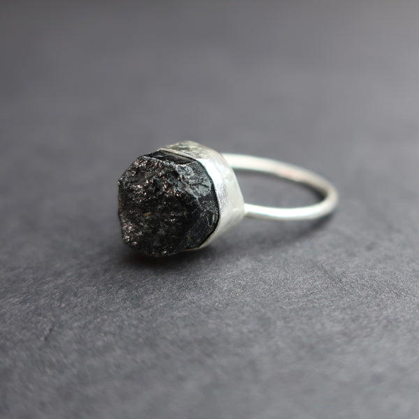 Black Tourmaline sterling silver ring by Bonearrow jewellery UK