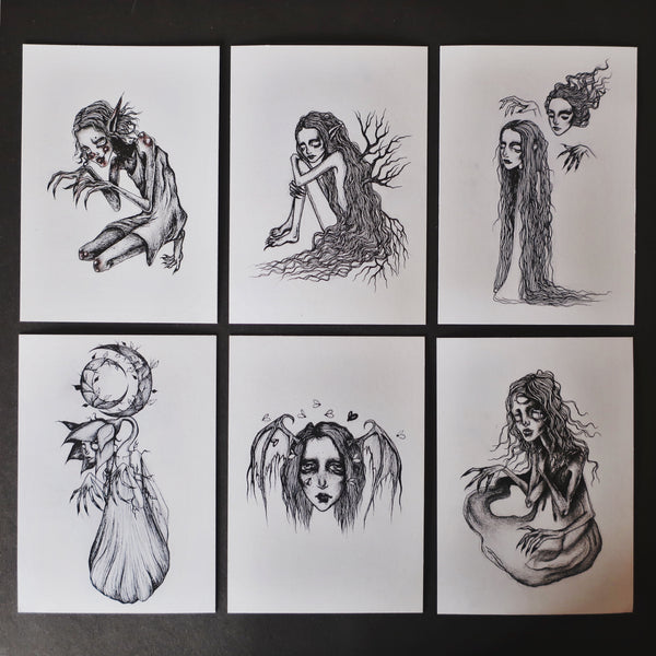 Little ghouls art mental health postcard prints
