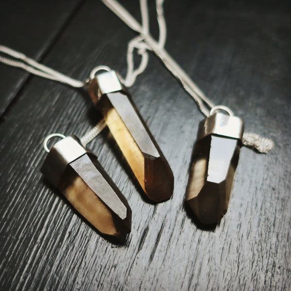 smoky quartz grounding amulet necklace
