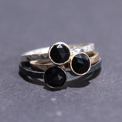 Satellite Ring in Rose Cut Onyx